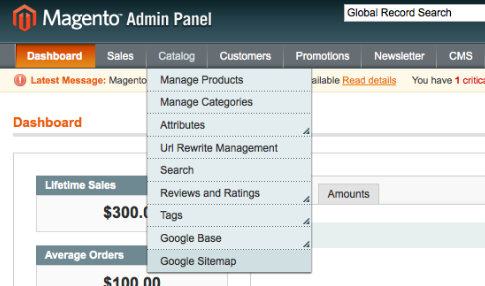 Sitemap Submit  found in the Magento Sitemap admin menu option